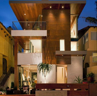 Fachadas de madera de casas modernas for Fachadas modernas para casas de tres pisos