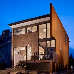 Fachada de madera de chadbourne + doss architects