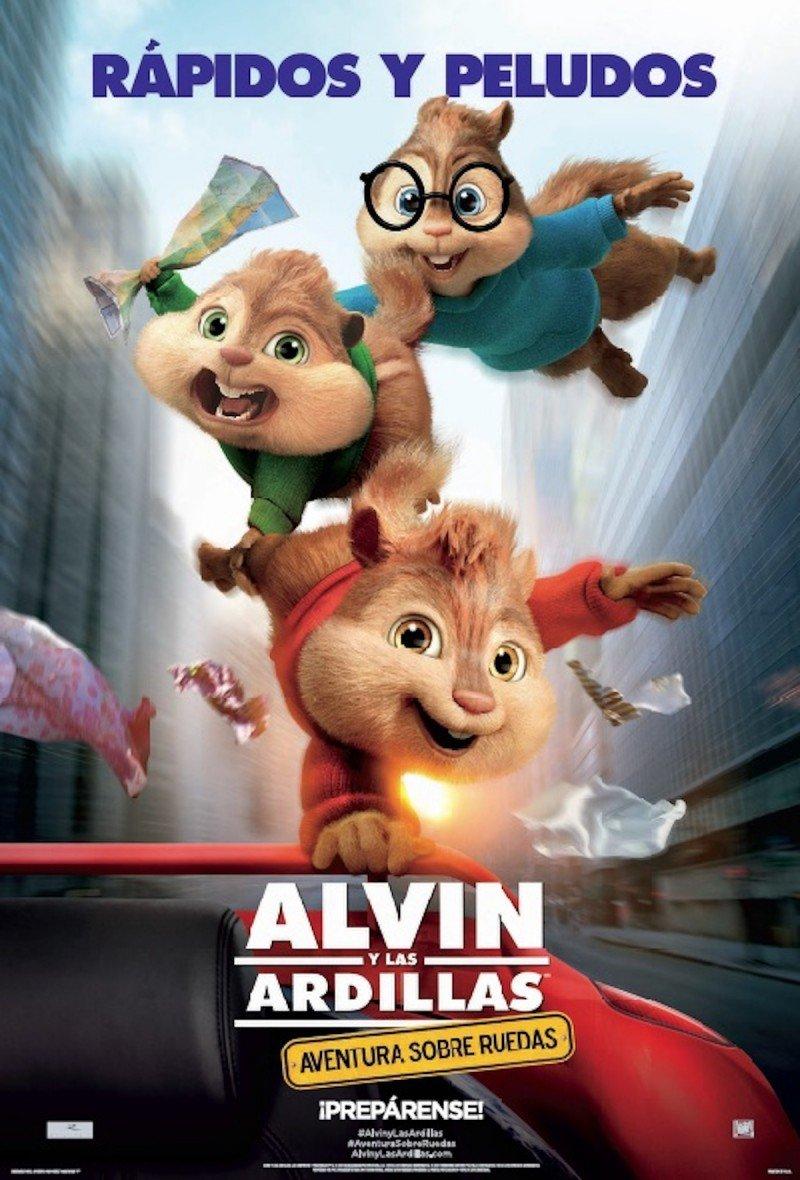 Cineclub Estrenos Enero 2016 Poster Alvin y las Ardillas: Aventura Sobre Ruedas
