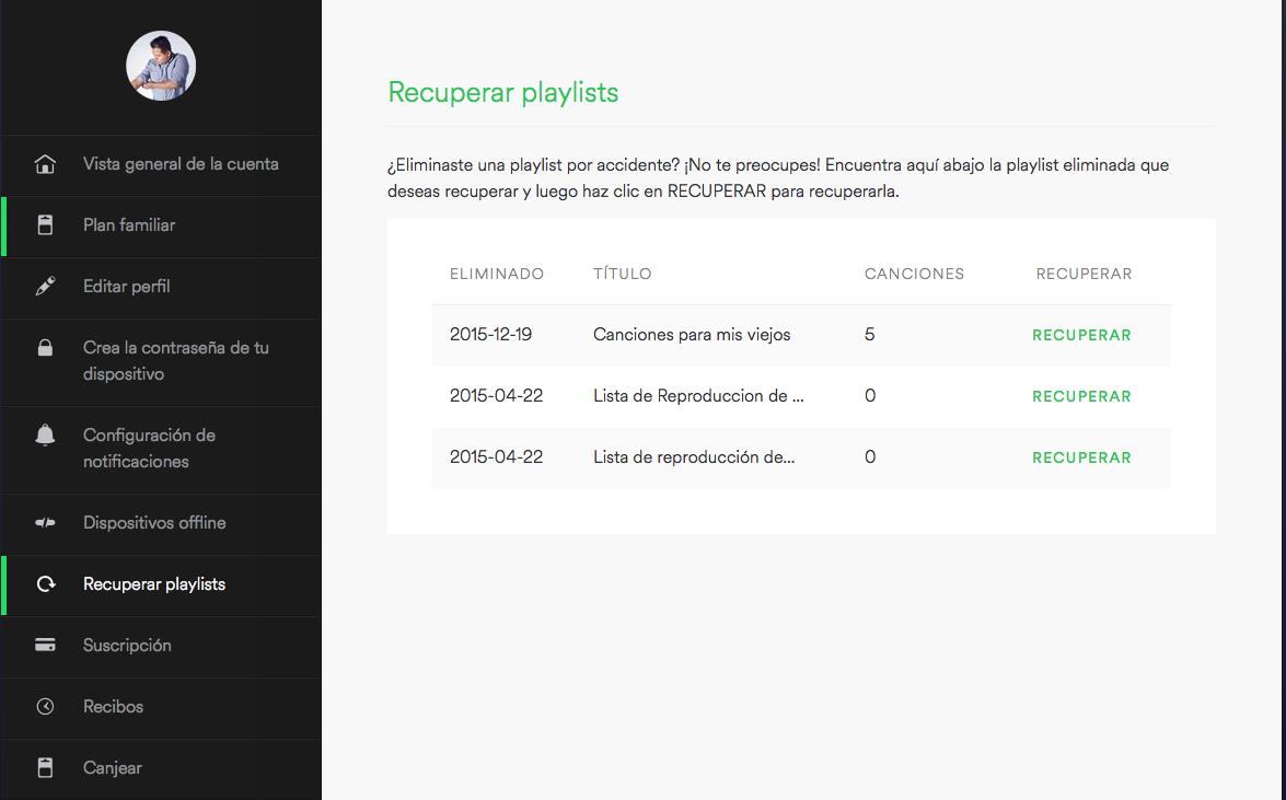 10 Trucos de Spotify que probablemente no sabias Recuperar Playlist
